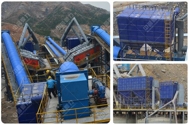 春江水泥时产1500吨骨料生产线密封除尘